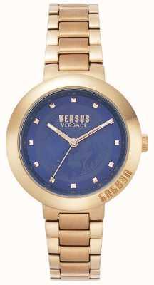 Versus Versace Damska bransoletka z różowego złota | niebieska tarcza | VSPLJ0819