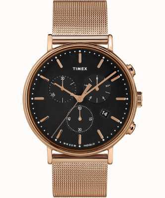 Timex | czarna tarcza fairfield chrono | obudowa w kolorze różowego złota | TW2T37100D7PF