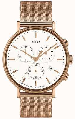 Timex | biała tarcza fairfield chrono | obudowa w kolorze różowego złota | TW2T37200D7PF