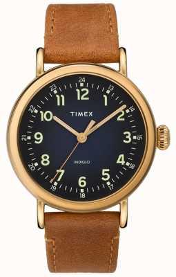 Timex | pasek skórzany z gents tan niebieska tarcza | TW2T20000D7PF
