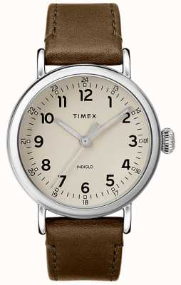 Timex | męski pasek ze skóry z oliwek | szara tarcza | TW2T20100D7PF