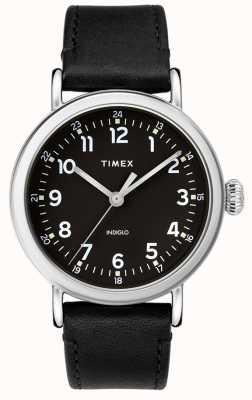 Timex | męski czarny skórzany pasek | czarna tarcza | TW2T20200D7PF