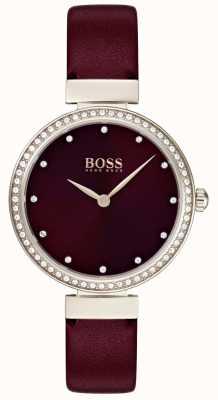 Boss | damski skórzany pasek w kolorze bordowym | 1502481