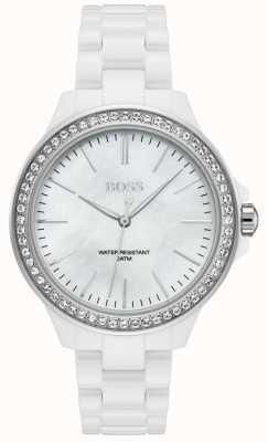 BOSS | biała bransoletka damska | biała tarcza | 1502454