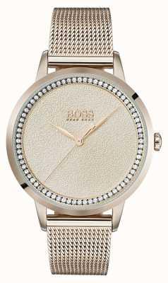 Boss | bransoleta z siateczki damska w kolorze różowego złota | 1502464