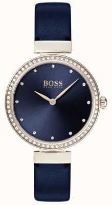Boss | niebieski skórzany pasek damski | niebieska tarcza | 1502477