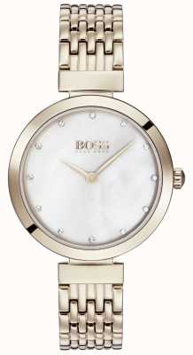 BOSS | damska bransoleta z bladego różowego złota | 1502480