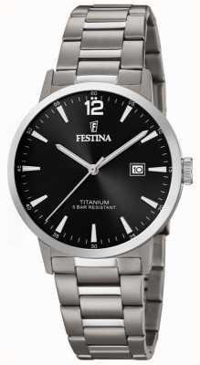 Festina | męski zegarek z tytanu | czarna tarcza | bransoleta tytanowa | F20435/3