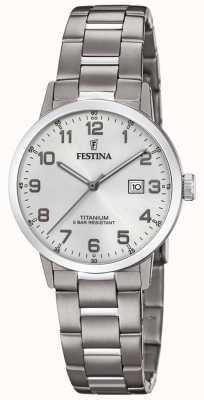 Festina | damski tytanowy zegarek | srebrna tarcza | bransoletka tytanowa | F20436/1
