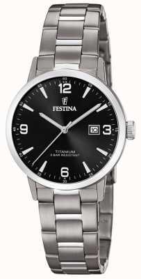 Festina | damski tytanowy zegarek | czarna tarcza | bransoletka tytanowa | F20436/3