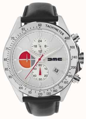 DeLorean Motor Company Watches 1981 srebrna skóra | srebrna tarcza | czarna skóra | DMC-7