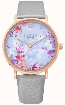 Lipsy | damski szary skórzany pasek | jasnoniebieski kwiatowy przycisk wybierania LP657