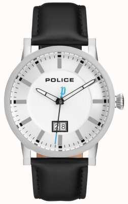 Police | męski zegarek collin | czarny skórzany pasek | srebrna tarcza | 15404JS/01