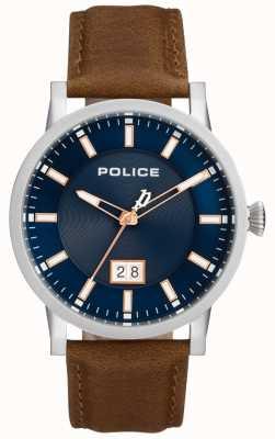 Police | męski zegarek Collin | brązowy skórzany pasek | niebieska tarcza | 15404JS/03