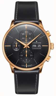 Junghans Meister chronoskop | czarny skórzany pasek | 027/7923.01