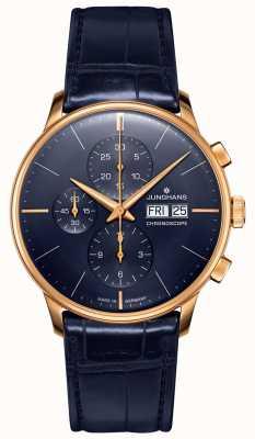 Junghans Meister chronoscope | niebieski skórzany pasek | 027/7924.01