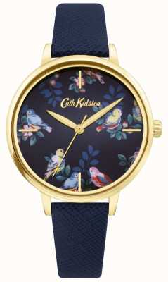 Cath Kidston | niebieski skórzany pasek | niebieska kwiatowa tarcza | CKL069UG