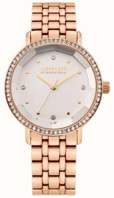 Missguided | damska bransoleta ze stali nierdzewnej w kolorze różowego złota | biała tarcza | MG021RGM