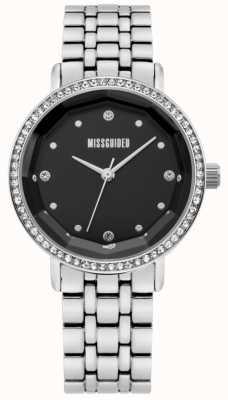 Missguided | damska ze stali nierdzewnej | czarna tarcza | kryształowa ramka | MG021SM