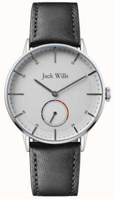 Jack Wills | mężczyzna batson ii | czarny skórzany pasek | biała tarcza | JW002SLBK