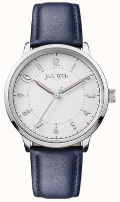 Jack Wills | damska knowle niebieski skórzany pasek | biała tarcza | JW017WHNV