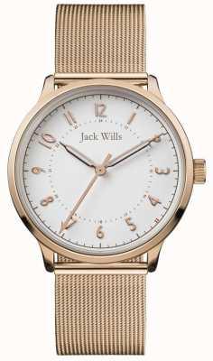 Jack Wills | damska knowle siatka z różowego złota | biała tarcza | JW017WHRS