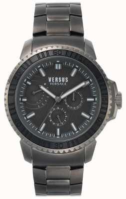 Versus Versace | męskie aberdeen | czarna tarcza | szara bransoleta ze stali nierdzewnej VSPLO0819