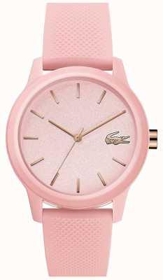 Lacoste | kobiety 12-12 | różowy pasek silikonowy | różowa tarcza | 2001065