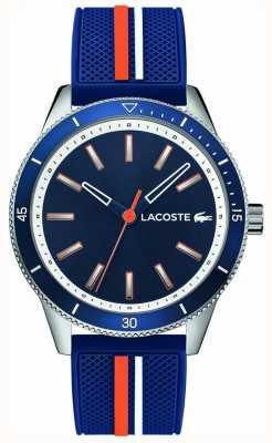Lacoste | klucz męski zachód | niebieski pasek silikonowy | niebieska tarcza | 2011007