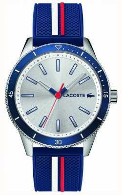 Lacoste | klucz męski zachód | niebieski pasek silikonowy | srebrna tarcza | 2011006