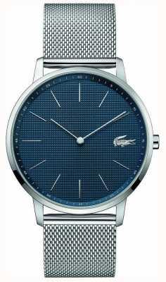 Lacoste | męski księżyc | bransoleta z siatki stalowej | niebieska tarcza | 2011005