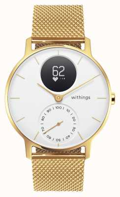 Withings Stal hr 36mm limitowana edycja złota milanese (+ gumowy pasek) HWA03B-36WHT-GOLD-MESH GOLD-ALL-INT