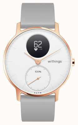 Withings Stal hr 36 mm szara silikonowa opaska na rękę w kolorze różowego złota HWA03B-36WHITE-RG-S.GREY-ALL-INTER