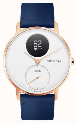Withings Steel hr 36mm różowozłoto-niebieska skóra (+ szary silikonowy pasek) HWA03B-36WHITE-RG-L.BLUE-ALL-INTER
