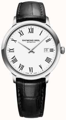 Raymond Weil | męskie toccata | czarny skórzany pasek | biała tarcza | 5485-STC-00300