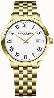 Raymond Weil | męskie toccata | złota bransoleta ze stali nierdzewnej | biała tarcza 5485-P-00300