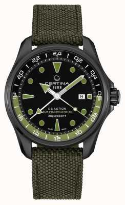 Certina Mens ds action gmt powermatic 80 zielony pasek czarna tarcza C0324293805100