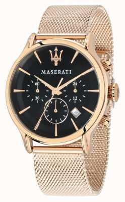 Maserati Epoca chronograf czarna tarcza różowe złoto pvd mesh R8873618005