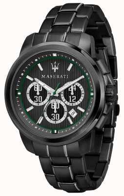 Maserati Royale czarna tarcza z chronografem czarna stal powlekana pvd R8873637004