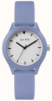 Jack Wills | damski niebieski pasek gumowy | biała tarcza | JW008LTBL