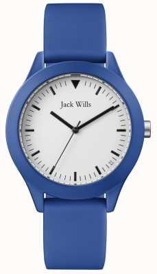 Jack Wills | męski niebieski pasek gumowy | biała tarcza | JW009BTBL