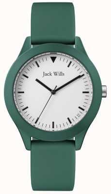 Jack Wills | męski zielony pasek gumowy | biała tarcza | JW009GRGR