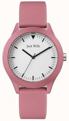 Jack Wills | męski różowy pasek gumowy | biała tarcza | JW009JWPK