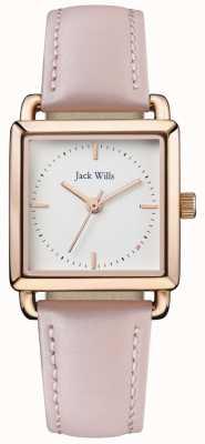 Jack Wills | damskie paski różowej skóry | biała tarcza | JW016WHPK