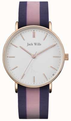 Jack Wills | panie sandhill twotone pasek silikonowy | biała tarcza | JW018PKBL