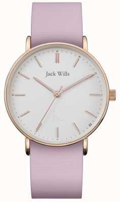 Jack Wills | damski sandhill różowy pasek silikonowy | biała tarcza | JW018WHPK