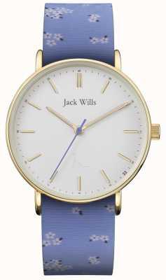 Jack Wills | panie sandhill niebieski pasek silikonowy | biała tarcza | JW018FLBL