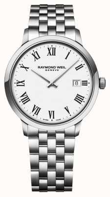 Raymond Weil | męska toccata bransoleta ze stali nierdzewnej | biała tarcza | 5485-ST-00300
