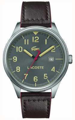 Lacoste | męskie kontynentalne | brązowy skórzany pasek | szara tarcza | 2011020