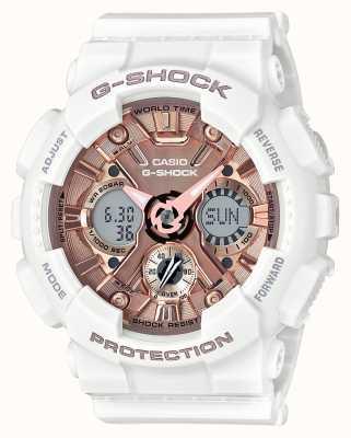 Casio | g-shock białe i różowe złoto | analogowy i cyfrowy | GMA-S120MF-7A2ER